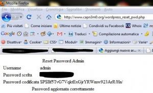 WordPress Password cambiata