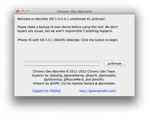 GreenPois0n Absinthe Jailbreak iPhone4S&Ipad2