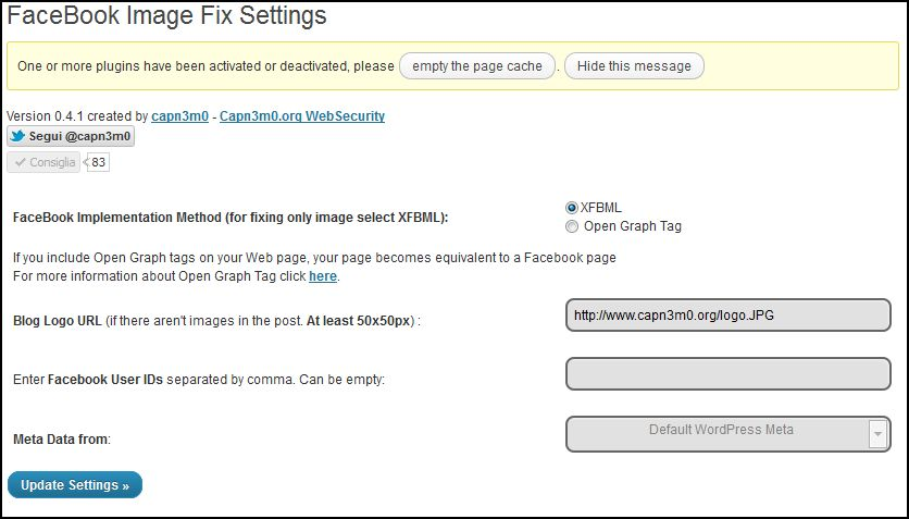 FaceBook Image Fix WordPress Plugin