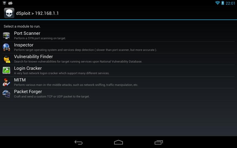 dSploit: penetration test da tablet Android