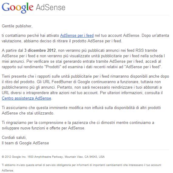 Google Adsense per i Feed