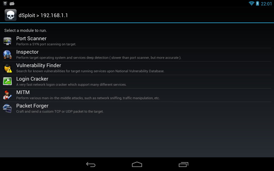 dSploit: penetration test da tablet Android