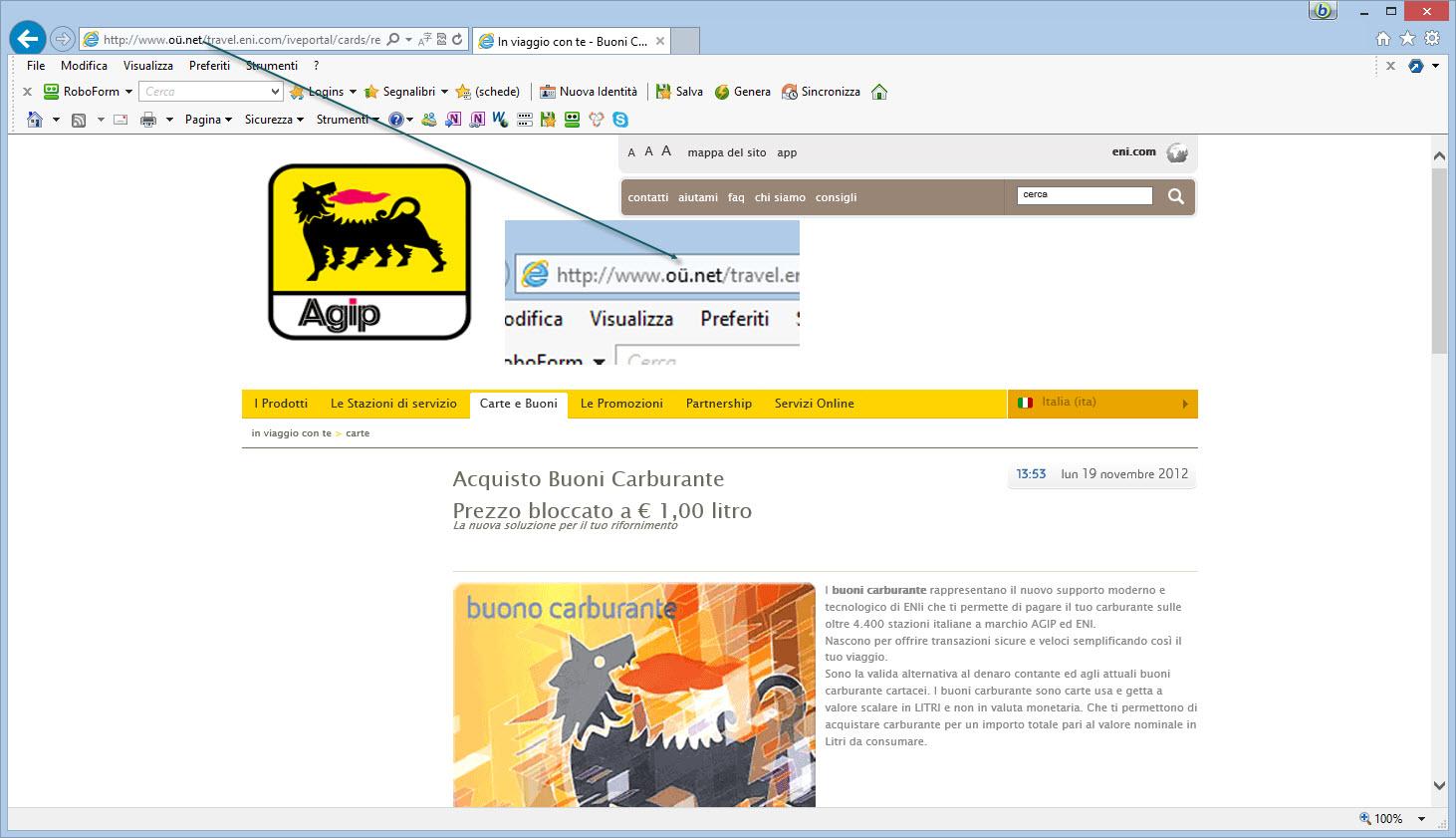 Falso sito AGIP truffa 4000 utenti