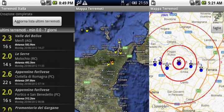 App terremoto: aggiornamenti in tempo reale