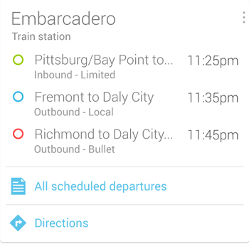 Google Now Bus Station