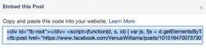 Facebook Embedded Post Code