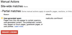 Azioni manuali Google Webmaster Tools