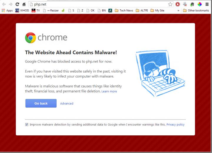 Rilevato malware su Php.net