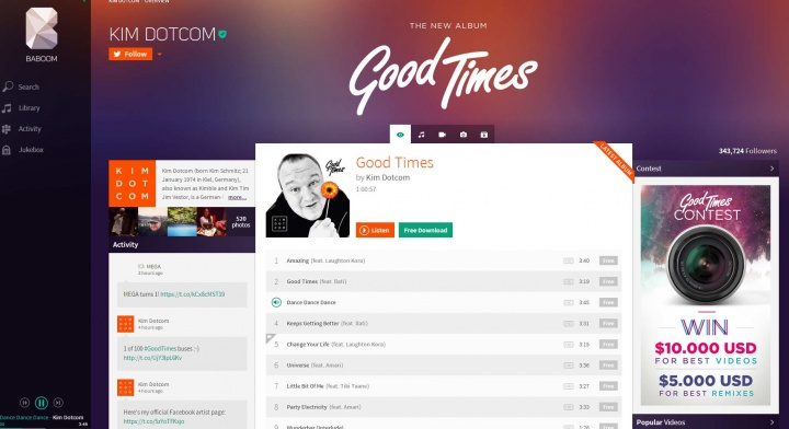 Baboom: streaming musicale marchiato Kim DotCom