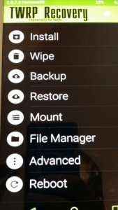 TWRP Recovery Home Menu